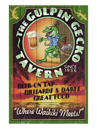 Gulpin' Gecko Tavern - Hawaii-Lantern Press-Art Print