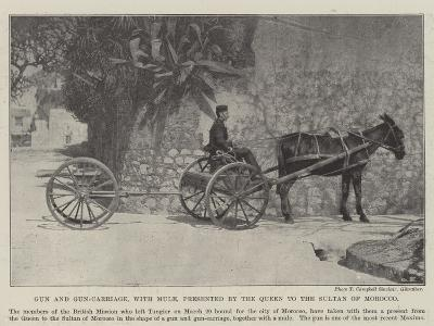 Gun and Gun-Carriage, with Mule, Presented by the Queen to the Sultan of Morocco--Giclee Print