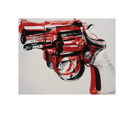 Gun, c.1981-82 (black and red on white)-Andy Warhol-Giclee Print