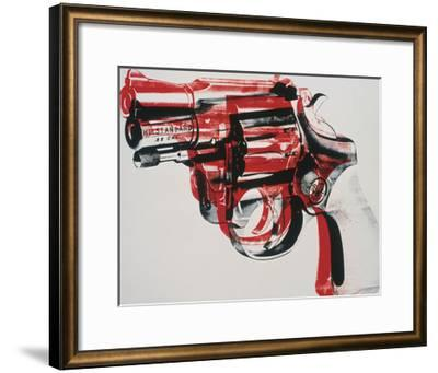 Gun, c.1981-82 (black and red on white)-Andy Warhol-Framed Giclee Print