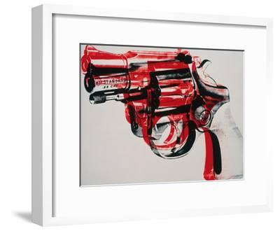 Gun, c.1981-82 (black and red on white)-Andy Warhol-Framed Art Print