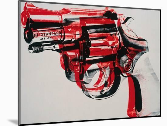 Gun, c.1981-82 (black and red on white)-Andy Warhol-Mounted Art Print