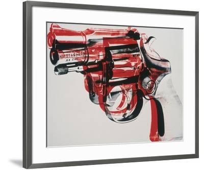 Gun, c. 1981-82 (black and red on white)-Andy Warhol-Framed Art Print