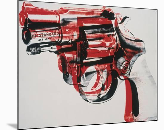 Gun, c. 1981-82 (black and red on white)-Andy Warhol-Mounted Art Print