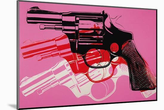 Gun, c. 1981-82 (black, white, red on pink)-Andy Warhol-Mounted Art Print