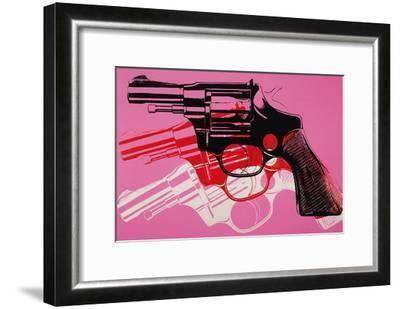 Gun, c. 1981-82 (black, white, red on pink)-Andy Warhol-Framed Art Print