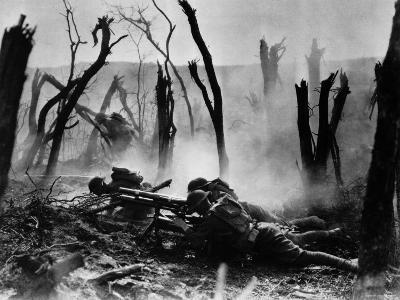 Gun Crew, Regimental HQ Co 23rd Infantry During Advance Against German Entrance Position During WWI--Photographic Print