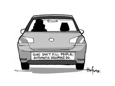 Gun's Don't Kill People; Automatic weapons do - Cartoon-Kaamran Hafeez-Premium Giclee Print