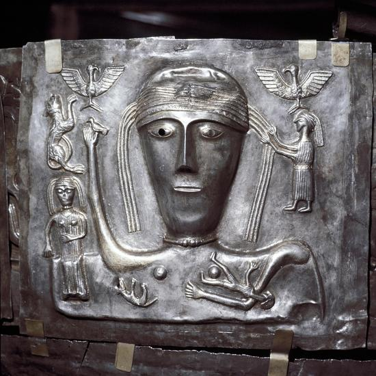 Gundestrup Cauldron, Celtic Goddess with eagles, Danish, c100 BC. Artist: Unknown-Unknown-Giclee Print