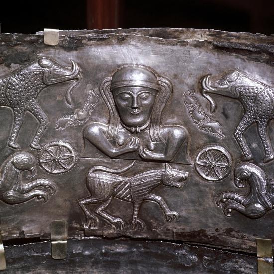 Gundestrup Cauldron, Celtic Goddess with elephants, Danish, c100 BC. Artist: Unknown-Unknown-Giclee Print