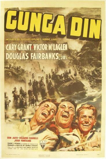 Gunga Din, Cary Grant, Victor McLaglen, Douglas Fairbanks Jr., 1939, poster art--Art Print