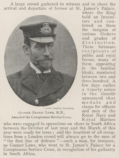 Gunner Ernest Lowe, Rn, Awarded the Conspicuous Service Cross--Giclee Print