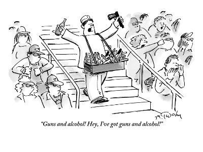 """""""Guns and alcohol! Hey, I've got guns and alcohol!"""" - New Yorker Cartoon-Mike Twohy-Premium Giclee Print"""