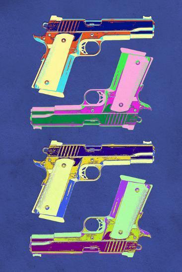 Guns Blue Pop-Art Poster--Art Print