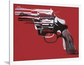 Guns, c. 1981-82 (white and black on red)-Andy Warhol-Framed Art Print