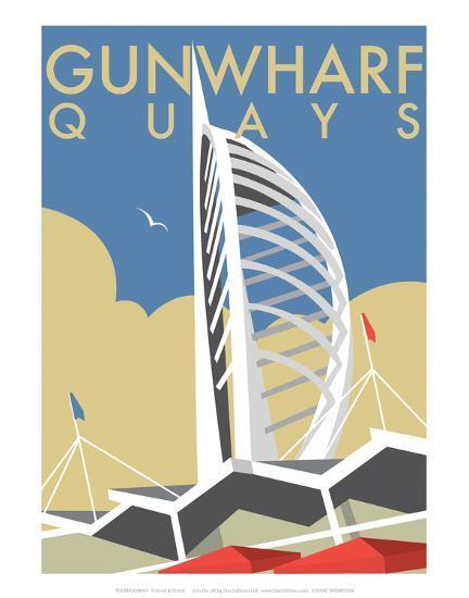Gunwharf Quays (V2) - Dave Thompson Contemporary Travel Print-Dave Thompson-Art Print