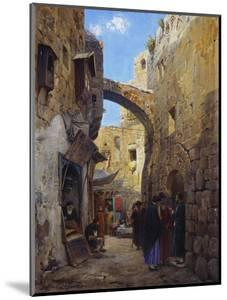 Streetscene in Jerusalem; Strassenscene in Jerusalem by Gustav Bauernfeind