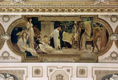 A Greek Travelling Theatre (Il Carro Di Thespis), Ceiling Fresco, 1884-1887 by Gustav Klimt
