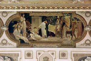 A Greek Travelling Theatre (Il Carro Di Thespis), Ceiling Fresco, 1884-1887 by Gustav Klimt