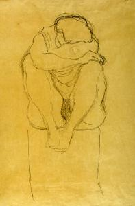 Auf Postament Kauernder Halbakt by Gustav Klimt
