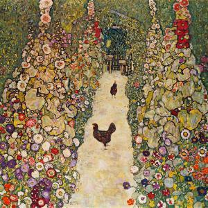 Garden Path with Chickens, 1916, Burned at Schloss Immendorf in 1945 by Gustav Klimt