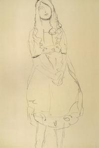 Girl Standing with Hands Clasped by Gustav Klimt
