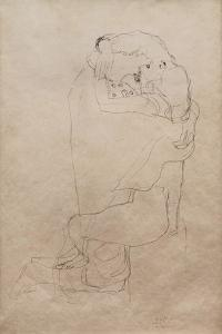 Kneeling Man and Seated Woman Embracing by Gustav Klimt