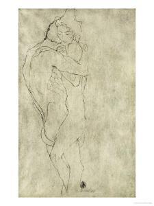 Lovers, Black Crayon (1908) by Gustav Klimt