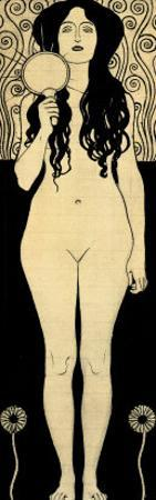 Nuda Veritas (Naked Truth), Inscribed Truth is Fire and to Speak Truth is Shining and Burning by Gustav Klimt