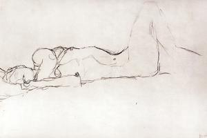 Nude Woman in Bed, c.1914 by Gustav Klimt