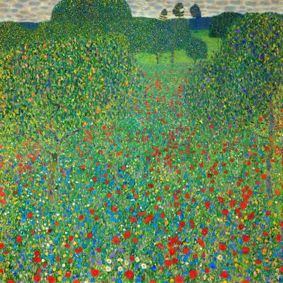 Gustav Klimt POPPY FIELD Canvas Print Picture Wall Art Square Frame