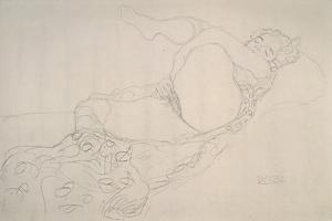 Reclining Nude with Leg Raised by Gustav Klimt