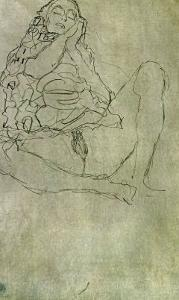Sitting Half-Nude with Closed Eyes by Gustav Klimt