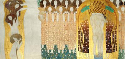 The Beethoven Frieze, Detail: the Arts, Chorus of Paradise, Embrace, 1902 by Gustav Klimt