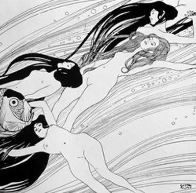 "The Blood of Fish, Published in ""Ver Sacrum"" Magazine, 1898 by Gustav Klimt"