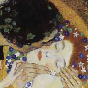 The Kiss (head detail) by Gustav Klimt