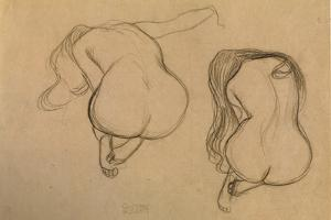 Two Studies of Seated Nude by Gustav Klimt