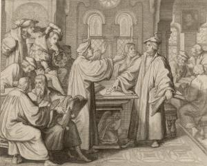 At Leipzig in Disputation with Johann Eck He Denies the Supreme Authority of Popes and Councils by Gustav Konig