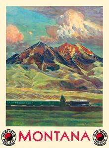 Montana - Absaroka Mountains - North Coast Limited - Northern Pacific Railway by Gustav Wilhelm Krollmann