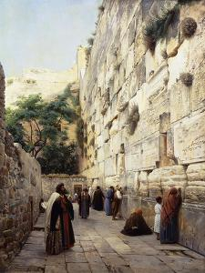 Praying at the Western Wall, Jerusalem by Gustave		 Bauernfeind