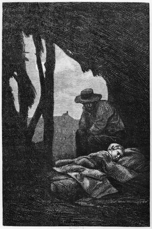 Jean Valjean Watching over Cosette Asleep, Illustration from 'Les Miserables' by Victor Hugo