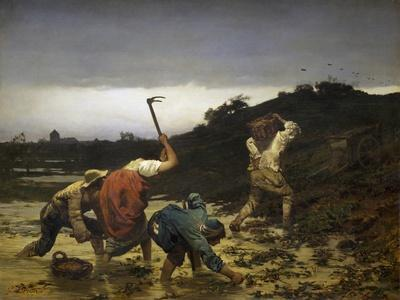 Peasants Harvesting Potatoes During Flooding of Rhine in 1852
