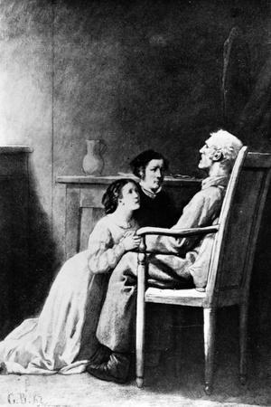 The Death of Jean Valjean, Illustration from 'Les Miserables' by Victor Hugo (1802-85) 1862
