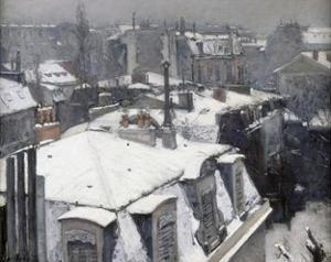 Rooftops in the Snow (Snow Effect) by Gustave Caillebotte
