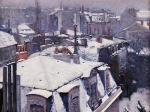 Rooftops under the Snow, Paris by Gustave Caillebotte