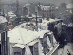 Vue de toits (Effet de neige), dit Toits sous la neige by Gustave Caillebotte