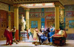 """A Performance of """"The Fluteplayer"""" in the """"Roman"""" House of Prince Napoleon III (1808-73) by Gustave Clarence Rodolphe Boulanger"""