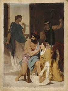 Odysseus Recognized by His Nurse Eurycleia (Sketch) by Gustave Clarence Rodolphe Boulanger