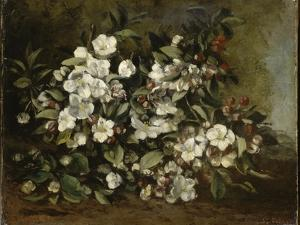A Branch of Apple Blossoms also Said Cherry Blossoms by Gustave Courbet