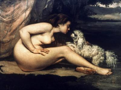 Courbet: Nude W/Dog, 1861 by Gustave Courbet